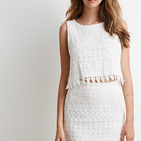 Ornate Lace Crop Top And Skirt Set