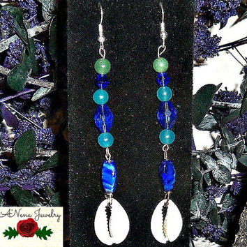 "Tribal Earrings: Handmade Jade, Lapiz Lazuli,Aventurine And Swarovski Crystals ""Brave"""