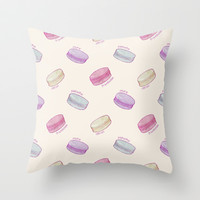Macaron Pattern - raspberry, pistachio, lemon & blueberry Throw Pillow by Perrin Le Feuvre