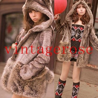 Lovely Bear Hooded Fluffy Faux Fur Coat-Vintagerose = 1930055300