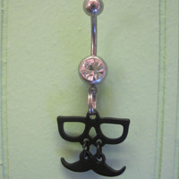 Belly Button Ring - Body Jewelry -Black Glasses And Mustache With Clear Gem Stone Belly Button Ring