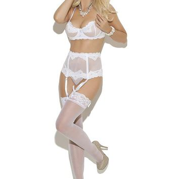Elegant Moments Bridal Embroidered Mesh Bra Gartered Set White