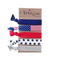 American Flag Elastic Hair Ties, 4th of July Fold Over Elastic Hair Accessories, Stars and Stripes No Crease Ties, Red White and Blue Bracel