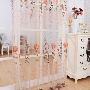 Window Curtain Sheer Panel Door Sheer Beads Floral