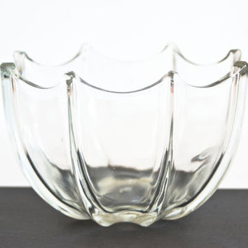 Vintage Clear Glass Umbrella Bowl Trinket Dish, Ring Holder, Umbrella Shape Jewelry Holder Candy Dish