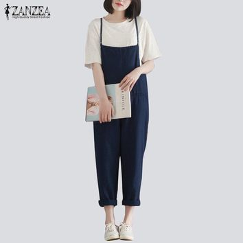 Women's Baggy Casual Jumpsuit With Spaghetti Strap.   Made of Cotton and Bamboo Fibers.   In Sizes From Small to 5XL.    In Navy and Black.    ***FREE SHIPPING***