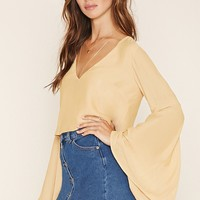 Trumpet-Sleeve Boxy Top