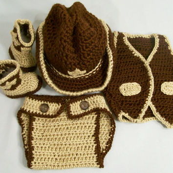 Baby Hat and Boots Set-4 Pc.-Baby Cowboy Gift Set--Baby Shower Gift--#205