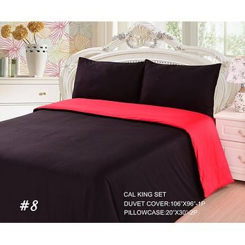 Tache 2-3 Piece Cotton Solid Vibrant Red & Black Reversible Duvet Cover Set (TADC32PC-RB)