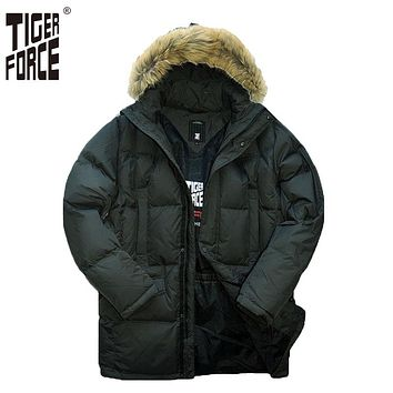 Man Duck Down Jacket Parka Winter Hooded Down Coat With Fur Collar
