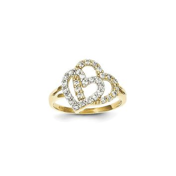 10k Yellow Gold & Rhodium Double Heart Ring