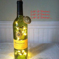 Upcycled Art Deco Christmas Wine Bottle Light Decor/Handmade Wine Bottle Decor/Secret Santa Gift