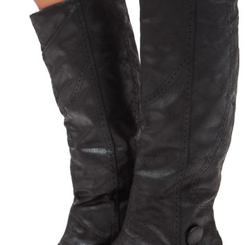Black Overlay Tall Button Boot