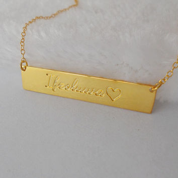 Script Name Heart Bar Necklace,Personalized Name Bar Necklace,Gold Nameplate Bar Necklace,Any Names Bar Jewelry,Custom Bar Necklace