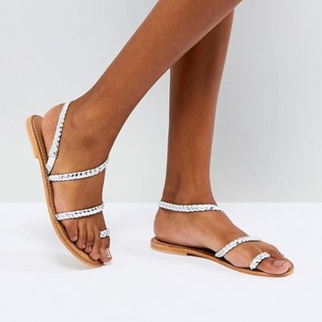 ASOS FLORIDOR Leather Asymmetric Flat Sandals at asos.com