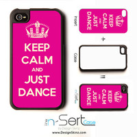 NEW Keep Calm And Just Dance n-Sert iPhone 4, 4s, 5 Case with Changeable Inserts