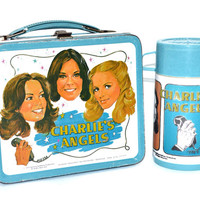 Vintage 70s Charlie's Angels Metal Aladdin Lunch Box with Thermos
