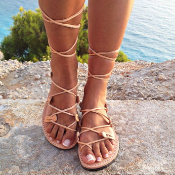leather sandals ,gladiator sandals, Greek leather lace-up Sandals,handmade sandals
