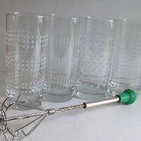 Set of 6 Glass Tumblers White Glassware Set Drinking Glass Ice Tea Glasses
