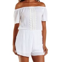 White Crochet-Trim Off-the-Shoulder Romper by Charlotte Russe