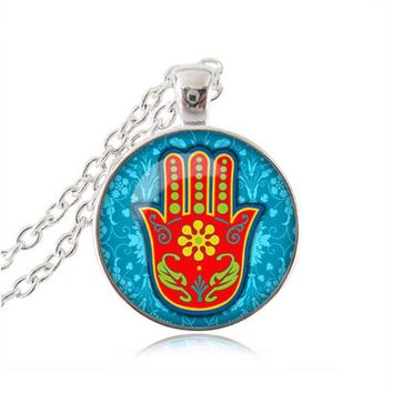 Hamsa Necklace Om Jewelry Henna Hamsa Hand Of Fatima Pendant Glass Dome Necklace Zen Statement Chain Necklace Attractive Gifts 5