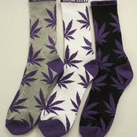 DGK DGKUSH Kush Weed Leef Marijuana Crew Socks Black, Gray, White, You Choose!