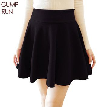 GUMPRUN Sexy Women Skirt Fashion Fall Winter Skirts Plus Size XL High Waist Pleated Skirt Black Casual Skater Skirt For Women