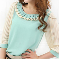 Three Quarter Sleeve Fold Chiffon Tops