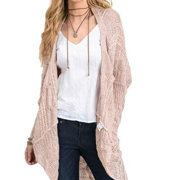 Women Front Drape Long Sleeve Cardigan