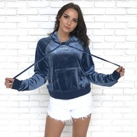 Velour Babe Hoodie Sweater in Blue