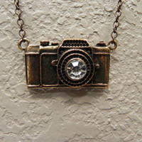 Antique Gold Camera Necklace by Lucky7Jewelry on Etsy