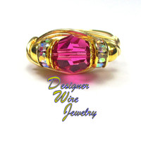 DWJ0461 Stunning Genuine Swarovski Crystal Faceted Fuchsia Gold Wire Wrap Ring A