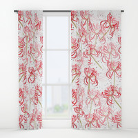 Red spider lily Window Curtains by Color And Color