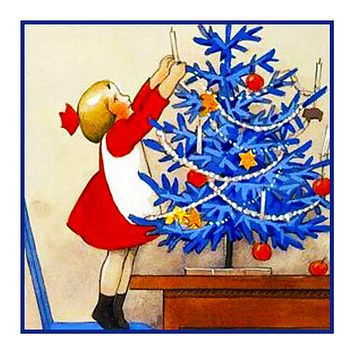 Little Girl Decorates a Blue Christmas Tree Holiday Christmas by Rudolf Koivu Counted Cross Stitch Pattern
