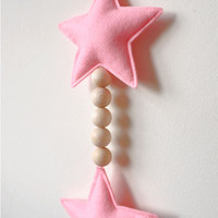 Felt Star and wooden beads hanging, Hanging Wall Decor, Wall decoration, Pink stars, Hanging Accessory, Wall Accessory, Home Decor
