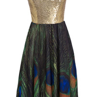Color Block Strapless Sequind Peacock Feather Print Dress