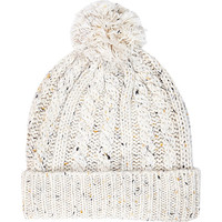 River Island MensEcru neppy cable knit beanie hat