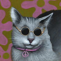 "Amy Giacomelli Cat art ... Abstract cat Art ... All You Need Is Love, 8 1/2"" x 11"" Print of cat painting"