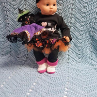 "Halloween 15"" Baby Doll Clothes made to fit a Bitty Baby® ""I Love My Mummy"" doll outfit dress leggings socks and headband hair clip B10"
