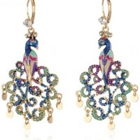 "Betsey Johnson ""Peacock"" Peacock Drop Earrings"