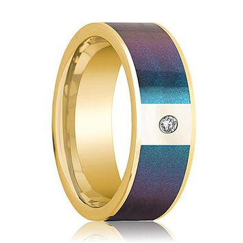 Mens Wedding Band 14K Yellow Gold with Blue/Purple Color Changing Inlaid and Diamond Flat Polished Design