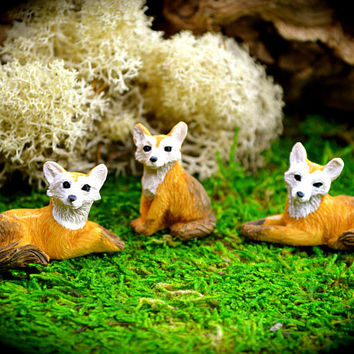 Miniature Fox Figurine ~ 3 assorted Fox choices at checkout ~ Fairy Garden Supplies ~ Miniature Garden Supplies ~ 1 Fox figure only