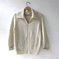 STOREWIDE SALE. vintage cardigan sweater. zip up sweater. sweater jacket. natural cream wool.