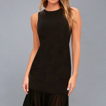 Modern Drama Black Sleeveless Midi Dress