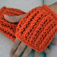 Pumpkin ribbed fingerless gloves, hand warmers, mittens