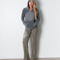 Flower of Life // Hoodie // Dark Grey + White