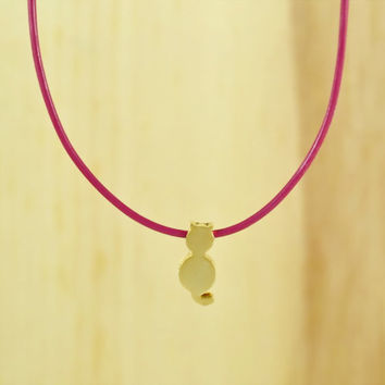 Cute Cat Pendant Necklace, Gold Plated Brass Pendant, Genuine Leather Cord, Everyday Wear, Perfect Gift, also in Rhodium Plated