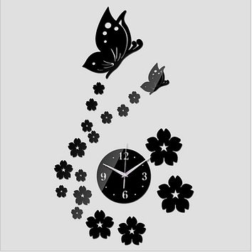 Free 3D Mirror Wall Clock DIY Crystal Watch Wall Clocks Home Decoration, Reloj De Pared 2 Butterfly and 17 Flowers