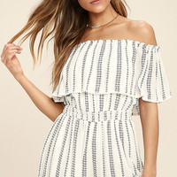 See Ya There White Print Off-the-Shoulder Romper