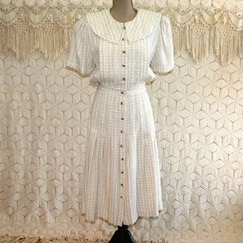 Beige Gingham Day Dress Short Sleeve Button Up Full Skirt 90s 40s Style Pleated Casual Dress Plaza South Size Large Womens Vintage Clothing